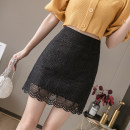 skirt Spring 2021 S,M,L,XL,2XL,3XL,4XL Short skirt Versatile High waist A-line skirt Solid color Type A 18-24 years old 30% and below Lace cotton