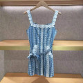 Dress Summer 2021 blue S,M,L Short skirt singleton  Sleeveless street One word collar middle-waisted Decor Socket other routine straps 25-29 years old Type H More than 95% cotton Europe and America