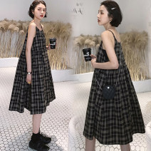 Dress Other / other Plaid skirt, black skirt, [collect baby + pay attention to shop to give small gift] M,L,XL,XXL Korean version Sleeveless Medium length summer other lattice