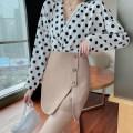 skirt Summer 2021 S,M,L,XL,2XL Khaki, black Short skirt commute High waist A-line skirt Solid color Type A 18-24 years old other polyester fiber zipper Korean version