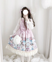 Dress Summer of 2019 Purple jsk, package 1 as shown, package 2 as shown, pink jsk S,L,M Short skirt singleton  Sweet other camisole Lolita