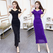 Dress Summer 2021 Purple, black S,M,L,XL longuette singleton  Short sleeve commute V-neck middle-waisted Solid color other other other Others Type H Korean version Hollowing out other