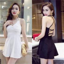 Dress Summer 2021 White, black S,M,L Short skirt singleton  commute V-neck Socket Princess Dress Hanging neck style Korean version backless