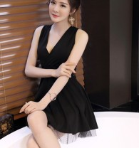 Dress Summer of 2018 White, black S,M,L,XL Middle-skirt singleton  Sleeveless commute V-neck middle-waisted Socket Princess Dress straps 25-29 years old Type A Other / other Korean version Hollow out, open back, strap 91% (inclusive) - 95% (inclusive) knitting
