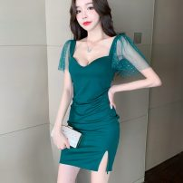 Dress Summer 2020 Green, black S,M,L singleton  Short sleeve commute V-neck Solid color zipper Flying sleeve