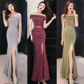 Dress / evening wear wedding S,M,L,XL Gold, silver, bean paste powder longuette middle-waisted Spring 2021 fish tail One shoulder zipper Silver blended yarn Short sleeve Solid color routine