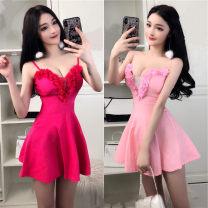 Dress Spring 2021 Rose, white, pink, black S,M,L Short skirt singleton  V-neck camisole