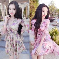 Dress Summer 2020 Apricot, pink S,M,L,XL,2XL Short skirt elbow sleeve V-neck