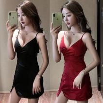 Dress Summer 2021 Red, black S,M,L,XL Short skirt singleton  Sleeveless commute V-neck middle-waisted Solid color other camisole Korean version backless