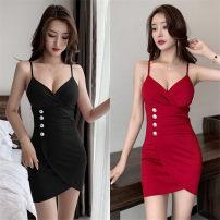 Dress Spring 2021 Red, black S,M,L,XL Short skirt singleton  Sleeveless commute V-neck High waist One pace skirt camisole Open back, button, zipper