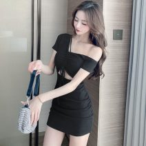 Dress Summer 2021 Picture color S,M,L Short skirt singleton  Short sleeve commute High waist Solid color Socket Oblique shoulder Pleating, stitching