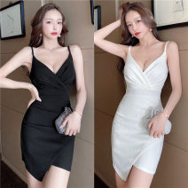 Dress Summer 2021 White, red, green, black S,M,L,XL,2XL Short skirt commute V-neck High waist Solid color Socket Irregular skirt