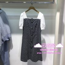 Dress Summer 2021 Navy Blue 160/84A,165/88A,170/92A Middle-skirt singleton  Short sleeve Sweet One word collar middle-waisted Decor Socket A-line skirt routine Type H Roem RCOWB2507M cotton