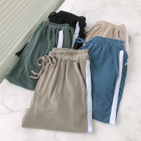 Casual pants Green, apricot, grey, black, blue XL reference weight 120-140 kg, 2XL reference weight 140-160 kg, 3XL reference weight 160-180 kg, 4XL reference weight 180-200 kg Summer 2020 Ninth pants Wide leg pants High waist commute routine 81% (inclusive) - 90% (inclusive) Korean version