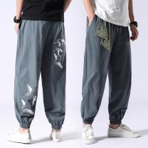 Casual pants Others Youth fashion M,L,XL,2XL,3XL,4XL,5XL thin trousers Other leisure easy No bullet Four seasons youth Chinese style 2021 middle-waisted Little feet Haren pants Embroidery washing Ethnic style Cotton and hemp