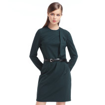 Dress Fall 2017 Dream green 43 155/36/S,165/40/L,175/44/XXL Short skirt singleton  Long sleeves commute Crew neck middle-waisted Solid color zipper One pace skirt routine 30-34 years old Type H Eitie / aitie lady zipper 31% (inclusive) - 50% (inclusive) other
