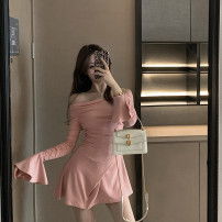 Dress Autumn 2020 Black, pink S, M Short skirt singleton  Long sleeves One word collar Type A