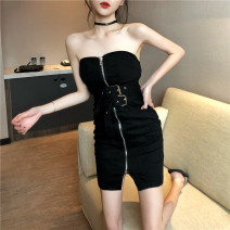 Dress Summer of 2019 Black, white, orange S,M,L Middle-skirt Sleeveless Elastic waist Breast wrapping 18-24 years old Other / other