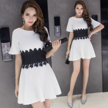 Dress Summer of 2018 white S M L XL Short skirt singleton  Short sleeve commute Crew neck High waist Solid color Socket A-line skirt routine Others 18-24 years old Type A Other / other Korean version Stitched zipper lace 81% (inclusive) - 90% (inclusive) other polyester fiber