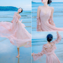 Dress Summer 2021 White, pink S,M,L longuette Two piece set Long sleeves Sweet V-neck High waist Solid color Others Type A Embroidery, Gouhua, hollow out, three-dimensional decoration, gauze, lace Bohemia