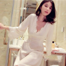 Nightdress Liu Meiren Liu Yuyi Elegant apricot color 155(S),160(M),165(L),170(XL) luxurious Long sleeves pajamas longuette summer Solid color youth V-neck silk lace More than 95% silk 200g and below