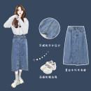 skirt Spring 2021 S,M,L,XL Black, blue Mid length dress Versatile High waist Denim skirt Type A 18-24 years old 30% and below Denim Other / other cotton