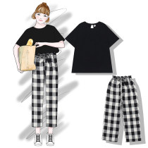 Casual suit Summer of 2018 Top black - spot Pants Black and white check - spot Top Pink - spot top White - spot top coral red - spot top fresh blue - spot black and white check Shorts - spot Average size 18-25 years old Other / other