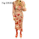 Dress Autumn 2020 Pink print XS,S,M Mid length dress singleton  Long sleeves square neck zipper Irregular skirt Type H NODRESS Hollowed out, pleated, printed More than 95% other polyester fiber