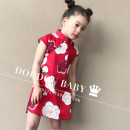 cheongsam 90,100,110,120,130,140 gules Cotton 90% other 10% OTH There are models in the real shooting summer other flax 12 months, 18 months, 2 years old, 3 years old, 4 years old, 5 years old, 6 years old, 7 years old, 8 years old Chinese Mainland