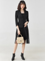 Dress Spring 2021 Mid length dress singleton  Nine point sleeve Sweet Crew neck High waist A button routine 30-34 years old 9 Charms 9m