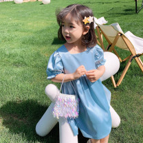 Dress Lake blue female Little red fish 130cm,140cm,120cm,110cm,100cm Other 100% summer Korean version Short sleeve Solid color other Lotus leaf edge Seven, eight, three, five, four, nine, six Chinese Mainland Zhejiang Province Huzhou City