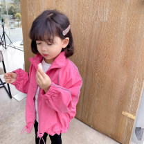 Plain coat Little red fish female 100cm,110cm,120cm,130cm,140cm Rose red spring and autumn Korean version Zipper shirt There are models in the real shooting routine nothing Solid color other Lapel Other 100%