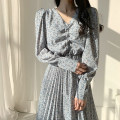 Dress Autumn 2020 Black, blue S,M,L,XL longuette singleton  Long sleeves commute other High waist other other Pleated skirt routine Others 18-24 years old Other / other Korean version