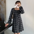 Dress Spring 2021 Black, coffee Average size Middle-skirt singleton  Long sleeves commute square neck lattice A-line skirt puff sleeve 18-24 years old Other / other Korean version