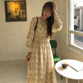 Dress Spring 2021 Beige Average size Mid length dress singleton  Long sleeves commute V-neck High waist Broken flowers 18-24 years old Other / other Korean version