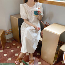 Dress Summer 2021 White, black Average size Mid length dress singleton  Short sleeve commute Crew neck High waist Solid color puff sleeve 18-24 years old Type A Other / other Korean version cotton