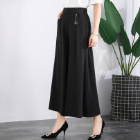 Casual pants Black, red, Burgundy, khaki, army green, fuchsia XL waist 2-2-2, 2XL waist 2-2-4, 3XL waist 2-4-2-6, 4XL waist 2-6-2-8, 5XL waist 2-8-3 Spring 2020 trousers Wide leg pants High waist Versatile routine 40-49 years old Cotton blended fabric cotton