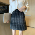 skirt Winter of 2019 S M L XL Black Khaki grey Short skirt commute High waist A-line skirt lattice Type A 18-24 years old More than 95% Wool Mira cool clothes other Korean version Other 100% Pure e-commerce (online only)