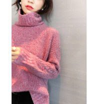 sweater Autumn of 2019 Average size Long sleeves Socket singleton  Regular wool 31% (inclusive) - 50% (inclusive) other thickening commute routine Solid color Straight cylinder Coarse wool Keep warm and warm wool