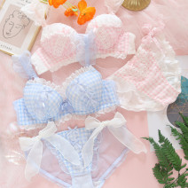 Bra Set  Other / other There are steel rings Briefs Detachable shoulder strap low-waisted Thin mould cup 3/4 Sweet M,L,XL Rear double row buckle Girls (18-25 years old) Sponge mat lattice lesbian  other