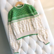 sweater Autumn of 2019 S,M,L Jardin Monet  Long sleeves Socket singleton  have cash less than that is registered in the accounts cotton 30% and below Crew neck Thin money commute bishop sleeve other Regular wool Keep warm and warm 25-29 years old