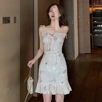 Dress Summer 2021 Apricot S,M,L Short skirt singleton  Sleeveless commute V-neck High waist Solid color One pace skirt camisole Type H Korean version Backless, lace up, sequins
