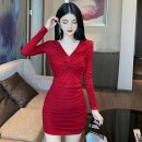 Dress Autumn 2020 S,M,L,XL Short skirt singleton  Long sleeves commute V-neck middle-waisted Solid color Socket One pace skirt routine Others T-type Korean version fold brocade cotton