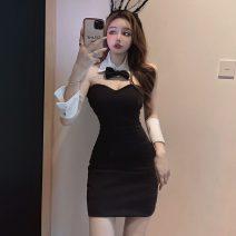 Dress Summer 2021 black S,M,L Short skirt singleton  Sleeveless commute V-neck High waist Solid color One pace skirt Type X Ol style backless