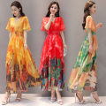 Dress Summer 2020 Khaki, orange, red, yellow, dark red, scarlet M,L,XL,2XL,3XL longuette singleton  Short sleeve commute V-neck middle-waisted Decor Big swing routine Type X Other / other Retro printing XYFS6005 More than 95% Chiffon polyester fiber