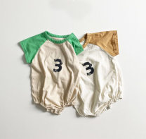 Jumpsuit / climbing suit / Khaki Other / other Class A neutral Green, yellow 66cm,73cm,80cm,90cm,100cm cotton summer Short sleeve Trigonometry Korean version There are models in the real shooting Socket 3 months, 6 months, 12 months, 9 months