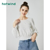 shirt 04 white 31 light green 44 Beige S M L XL Spring 2020 polyester fiber 96% and above Long sleeves Sweet Short style (40cm < length ≤ 50cm) Crew neck Socket Lotus leaf sleeve Solid color 18-24 years old Straight cylinder Hot wind F02W0500 Polyester 98.7% polyurethane elastic fiber (spandex) 1.3%