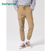 Casual pants Hot wind Youth fashion 01 BLACK 08 apricot 07 green 24 Decor S M L XL 2XL routine trousers Other leisure Straight cylinder Micro bomb F04M0102 spring youth Youthful vigor 2020 middle-waisted Straight cylinder Cotton 98% polyurethane elastic fiber (spandex) 2% Overalls Pocket decoration