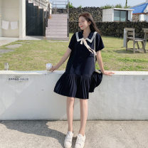 Dress Summer of 2019 dark blue S,L,M Mid length dress singleton  Short sleeve Sweet Polo collar Loose waist Solid color Socket Ruffle Skirt routine Others 18-24 years old Kuang Han Lotus leaf edge 71% (inclusive) - 80% (inclusive) Chiffon polyester fiber