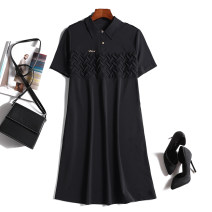 Dress Summer 2021 black L,XL,2XL,3XL,4XL Middle-skirt singleton  Short sleeve commute Polo collar Loose waist Solid color Socket other routine Others Type H Korean version Splicing 51% (inclusive) - 70% (inclusive) other other